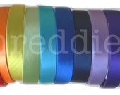 "1"" wide satin headbands / alice bands - 5pc - pick your colors"