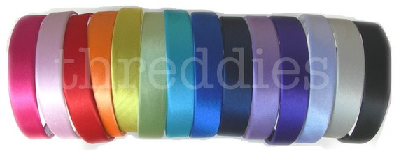 """1"""" wide satin headbands / alice bands - 5pc - pick your colors"""