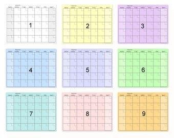 Dry Erase Monthly Calendar Magnet in 9 Stunning Colors for your Fridge, Locker, or File Cabinet #2864
