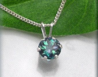 Rainbow Topaz Necklace, Mystic Topaz Jewelry, Sterling Silver, Minimalist, Graduation Gift, Friendship Necklace Jewelry, Everyday (SN795)