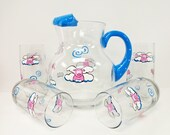 Flying Pig pitcher and Glasses set  - painted glassware