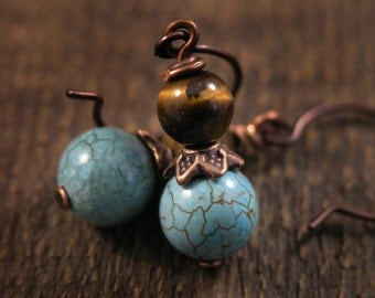 Tiger eye stone beads, genuine turquoise stone and antique copper handmade earrings