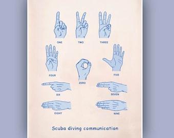Scuba diving Communication Print, Deep Sea signs print, Nautical wall art, Underwater signs print, diver, diving school, dive center