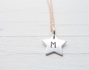 Star Initial Necklace Tiny Silver Star Necklace Dainty Sterling Silver Star Necklace on Rose Gold Chain Mixed Metal Personalized Jewelry