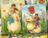 Bright Vibrant Vintage Easter Postcards Two 2.5x3.8 inches bunnies eggs chicks car boy sign -- piddix printable digital collage sheet 784