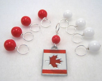 Oh Canada Stitch Marker Drops for Knitting (Set of 8 plus Charm - Choose Your Size)