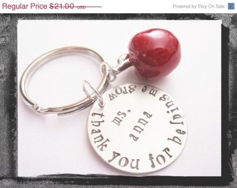 Personalized Jewelry - Silver Keyring - Teacher Holiday Gift - Hand Stamped Jewelry