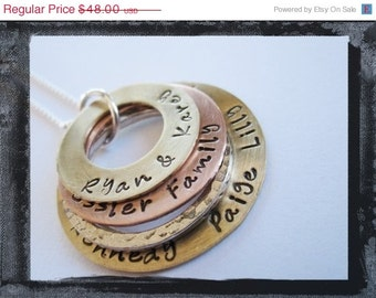 Hand Stamped Jewelry - Stacked Washer Necklace - Silver Copper Brass