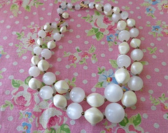 take me to the moon. white pearly and moonglow vintage retro 2 strand beaded necklace