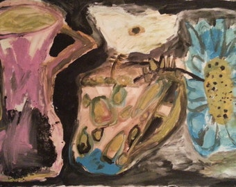 """Original abstract painting, """"Floating Flowers"""", acrylic on foam board"""