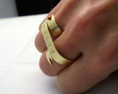 Gold Double Banner Ring - Personalized Two Finger Ring, Name Ring - Modern Brass Knuckle Ring, Gift Under 40