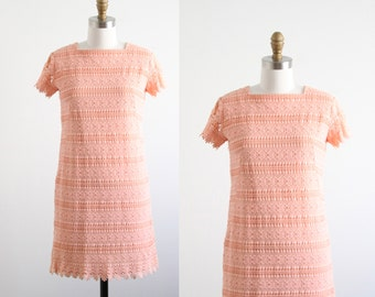 Vintage 1960's Pink Lace Shift Dress
