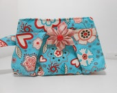 Pleated Wristlet with Flower Brooch Brooch Hearts and Flowers Red and Aqua Floral Wristlet