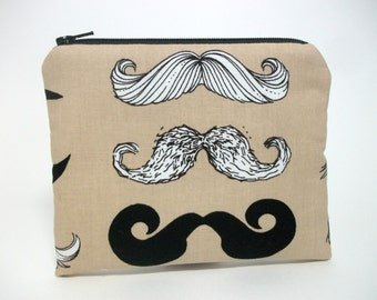 Mustache Coin Purse Zip Pouch and Pocket Mirror Set
