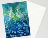 Greeting Card - SISTERS - mermaid jellyfish spirits fairy siren watercolor art card on recycled paper with envelope blank inside Oladesign