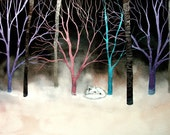 Print of fox and trees surreal landscape by Aja - Arctic Chill 8x12 12x18 16x24 20x30 24x36 choose size
