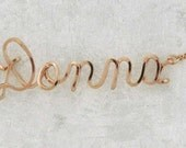 Personalized Wire Name Necklace in Gold or Rose Gold Any Name in Wire Script