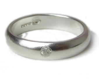 Sterling silver ring with white diamond - Diamond Wedding Ring, Mens Band - smooth finish