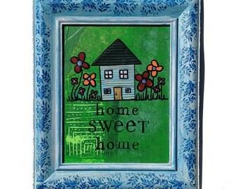 Home Sweet Home - Original mixed media collage, house Art, housewarming gift, wall art decor, wedding gift, whimsical, blue green