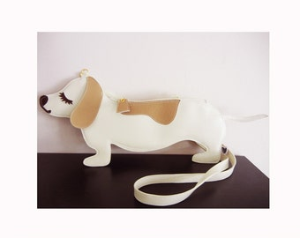 Large Yang the Dachshund Cream Dog Cute Vintage Inspired Vinyl Side Strap Clutch Purse Bag
