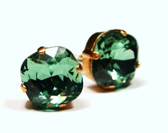 Kelly Green Crystal Stud Earrings Mint Sparkling Seafoam Solitaire Swarovski 12mm 10mm Sterling Post & Copper Emerald Erinite Sage Moss