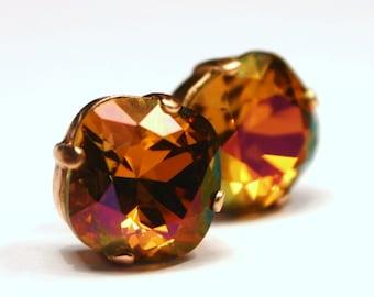 Orange Topaz Crystal Stud Earrings Cognac Copper Brandy Flame Orange Mahogany Pink Swarovski 12mm Sterling Silver Post Women's Jewelry