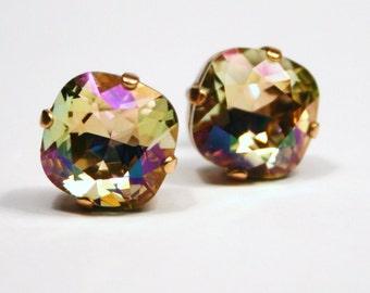 Pastel Rainbow Crystal Stud Earrings Classic Sparkling Luminous Green Lemon Lime Pink Sherbet Solitaire Swarovski 12mm Sterling Post Copper