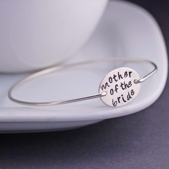 Mother of the Bride Jewelry, Sterling Silver Bangle Bracelet, Mother of the Groom Wedding Jewelry