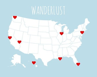 DIY Travel Map Kit, Interactive Map Kit, USA Map Print with Heart Stickers, First Anniversary Gift, Boyfriend Gift, Blank US Map Board 8x10