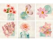 Pink Print Set, Floral Photography, Botanical Print Set, Flower Prints Pink Decor, Pink Flower Photo Set, Pink Photo Prints, Set of 6 Prints