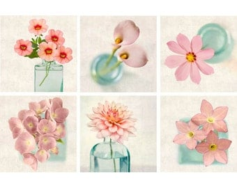 Pink Print Set, Floral Photography, Botanical Print Set, Flower Prints Pink Decor, Pink Flower Photo Set, Pink Photo Prints, Set of 6 Prints