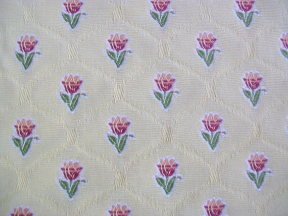 Home Decor Embroidered Upholstery Yellow Fabric- 2/3 Yd X