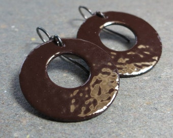 Chocolate Brown Enamel Earrings Oxidized Sterling Silver Gift for Her