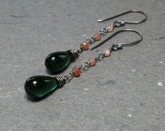 Emerald Green Earrings Peach Moonstone Earrings Long Earrings Ombre Earrings Oxidized Sterling Silver Earrings