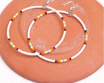 white seed bead hoop earrings