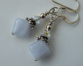 Earrings Blue lace Agate and Sterling Silver by Sterling Creations