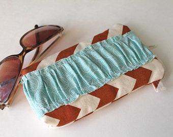 Brown Chevron case with ruffle. Sunglasses Eyeglass case with zipper. Sunnies Case. Lime green, teal, aqua, ruffles.
