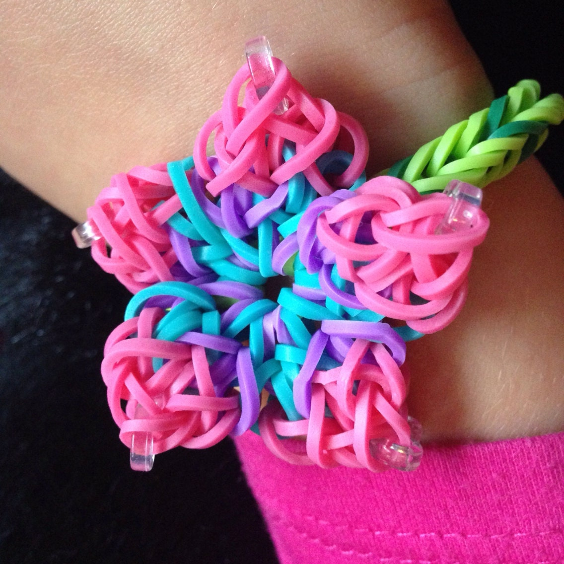 items similar to custom color hibiscus flower rainbow loom
