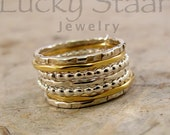 Gold and Silver Stack Rings, The Knoxville Stack - Super Shiny Beaded Stack Ring, Set of 7 Stacking Rings