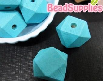 BE-WO-01003 - Geometric wood beads, pastel blue, 10 pcs
