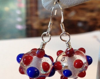 Red Clear and Blue Polka Dot Earrings Sterling Silver Swarovski Crystal Luscious Lampwork Handmade Glass Beads