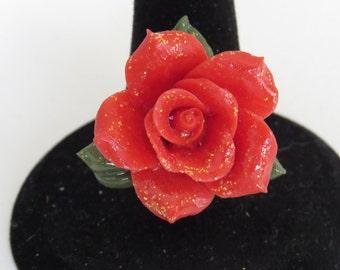 Red Cold Porcelain Adjustable Ring