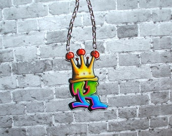 Graffiti Initial with Crown Necklace by beebles