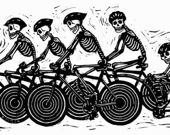 Day of the dead bicycle team calaveras - Linocut print