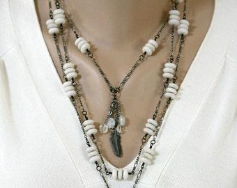 Black and White Multi Strand Gunmetal Necklace