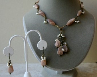 Pastel Pink African Sunstone and Pearl Dangling Vintage Inspired Necklace FREE Matching Earrings  OOAK