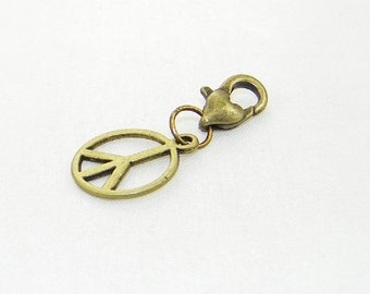 Bronze peace lobster claw charm for link bracelets and necklaces, Clip on charm, Purse charm, Backpack charm, Zipper charm. Symbol charm