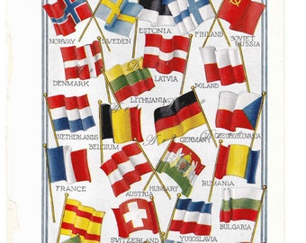 European Flags Vintage Wall Art Printable  Digital Download Sheet no. 95