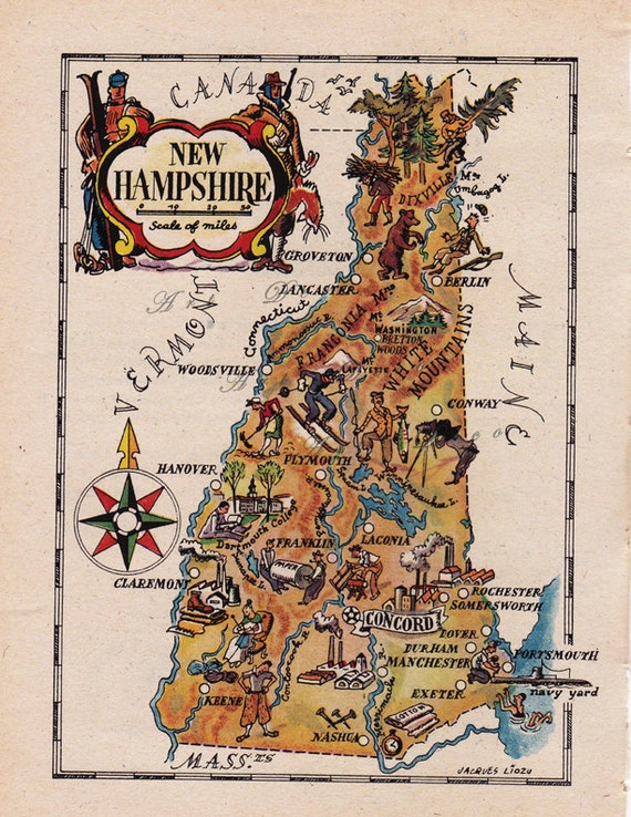 Map of new hampshire from the s unique gift or home
