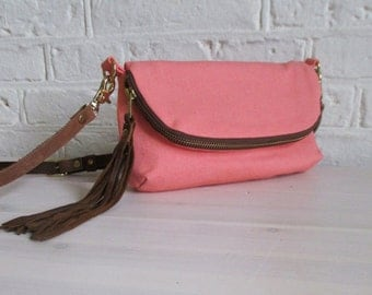 SALE Coral 3-in-1, small pink cross-body bag, clutch, or large wallet, ready to ship